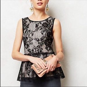 Anthropologie Deletta Black Lace Peplum Top Sz XS